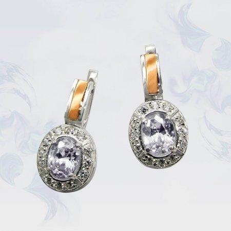 Серьги из серебра с золотыми вставками, модель 025