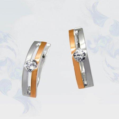Серьги из серебра с золотыми вставками, модель 027