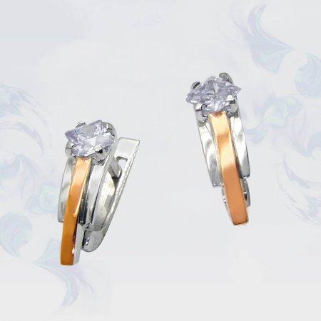 Серьги из серебра с золотыми вставками, модель 032