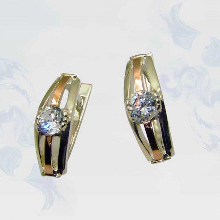 Серьги из серебра с золотыми вставками, модель 033