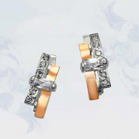 Серьги из серебра с золотыми вставками, модель 038