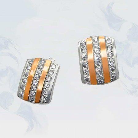 Серьги из серебра с золотыми вставками, модель 044