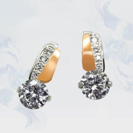 Серьги из серебра с золотыми вставками, модель 046