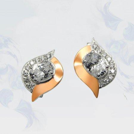 Серьги из серебра с золотыми вставками, модель 047