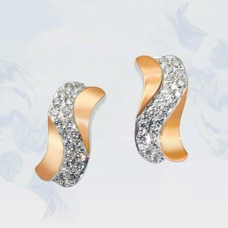 Серьги из серебра с золотыми вставками, модель 048
