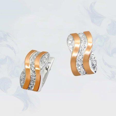 Серьги из серебра с золотыми вставками, модель 049