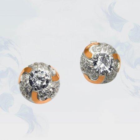Серьги из серебра с золотыми вставками, модель 050