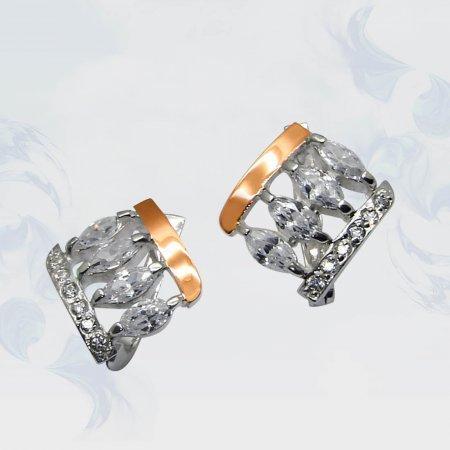 Серьги из серебра с золотыми вставками, модель 052