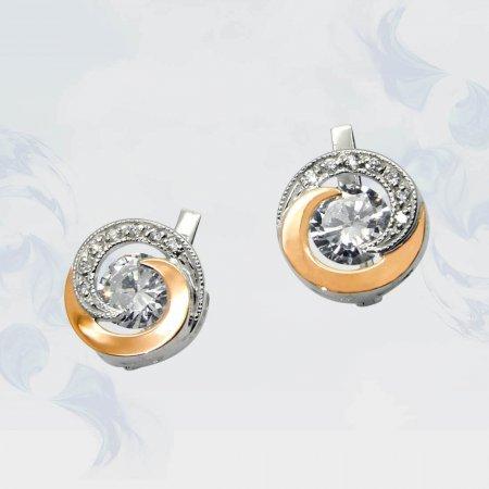 Серьги из серебра с золотыми вставками, модель 053