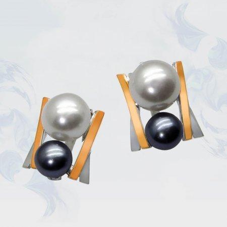Серьги из серебра с золотыми вставками, модель 054