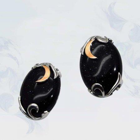 Серьги из серебра с золотыми вставками, модель 059