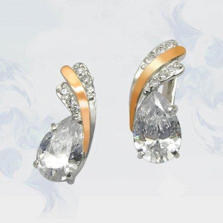 Серьги из серебра с золотыми вставками, модель 060