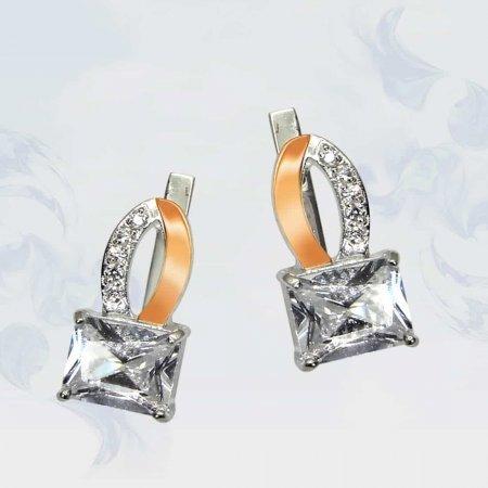 Серьги из серебра с золотыми вставками, модель 061