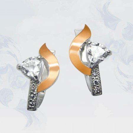 Серьги из серебра с золотыми вставками, модель 063