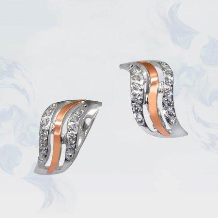 Серьги из серебра с золотыми вставками, модель 065