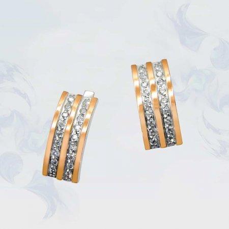 Серьги из серебра с золотыми вставками, модель 073