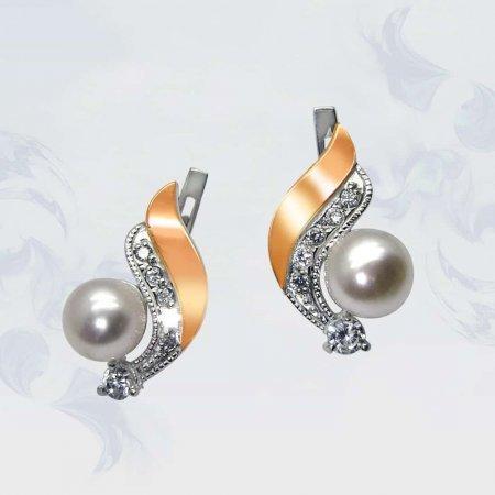 Серьги из серебра с золотыми вставками, модель 067