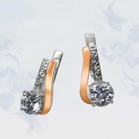 Серьги из серебра с золотыми вставками, модель 069