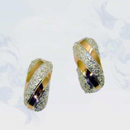 Серьги из серебра с золотыми вставками, модель 074
