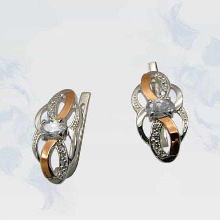 Серьги из серебра с золотыми вставками, модель 081
