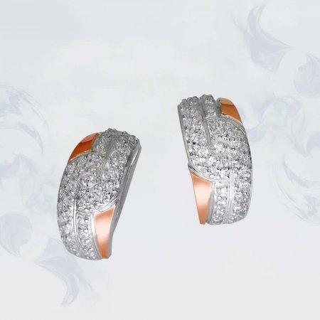 Серьги из серебра с золотыми вставками, модель 083