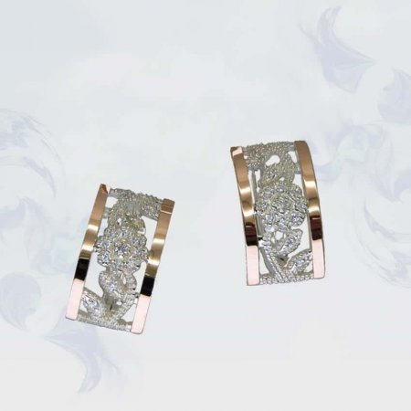Серьги из серебра с золотыми вставками, модель 086