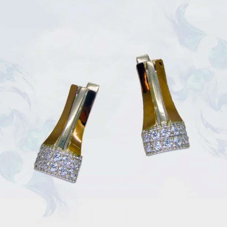 Серьги из серебра с золотыми вставками, модель 087