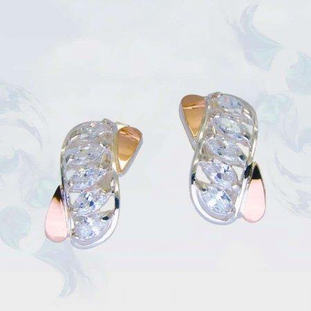 Серьги из серебра с золотыми вставками, модель 088