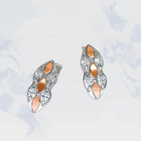 Серьги из серебра с золотыми вставками, модель 089