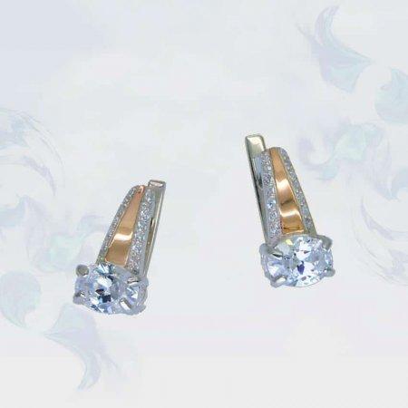 Серьги из серебра с золотыми вставками, модель 092