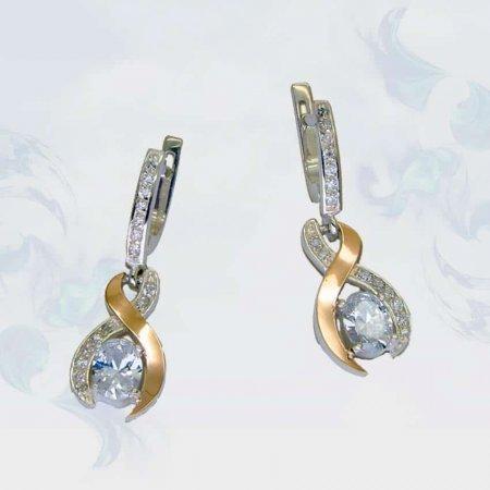 Серьги из серебра с золотыми вставками, модель 099