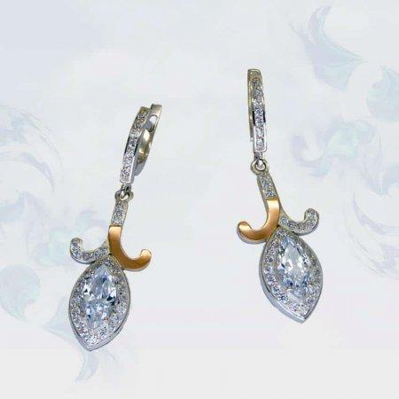 Серьги из серебра с золотыми вставками, модель 100