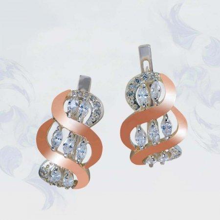 Серьги из серебра с золотыми вставками, модель 127