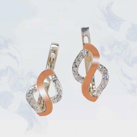 Серьги из серебра с золотыми вставками, модель 128