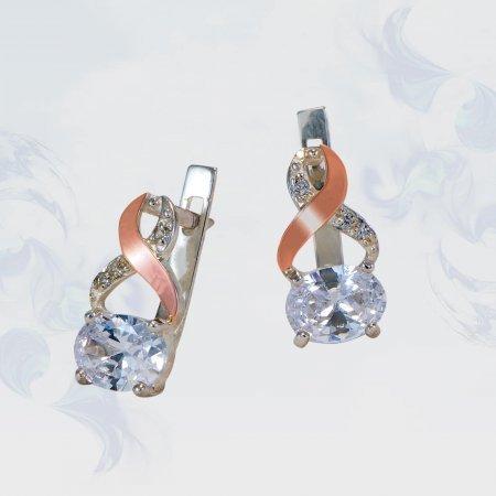 Серьги из серебра с золотыми вставками, модель 136