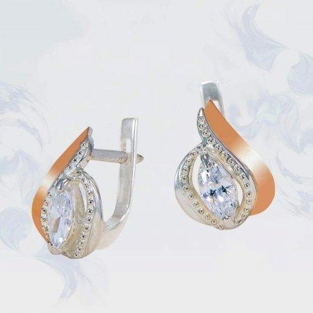 Серьги из серебра с золотыми вставками, модель 139
