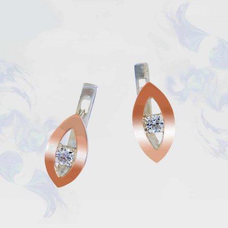Серьги из серебра с золотыми вставками, модель 140