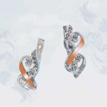 Серьги из серебра с золотыми вставками, модель 141