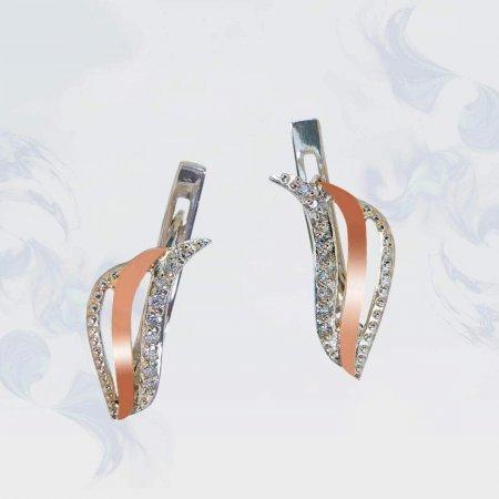 Серьги из серебра с золотыми вставками, модель 142