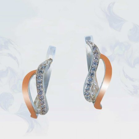 Серьги из серебра с золотыми вставками, модель 144