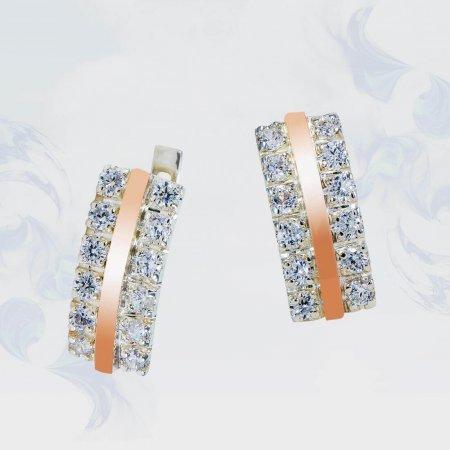 Серьги из серебра с золотыми вставками, модель 146