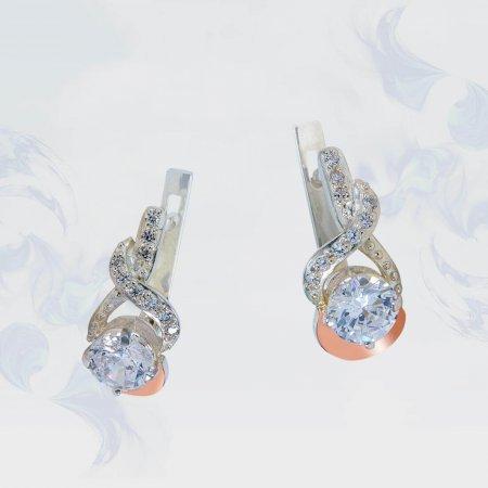 Серьги из серебра с золотыми вставками, модель 148