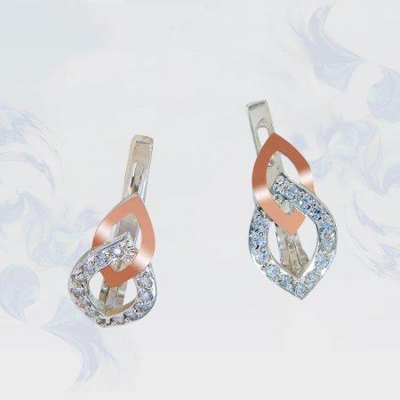 Серьги из серебра с золотыми вставками, модель 149