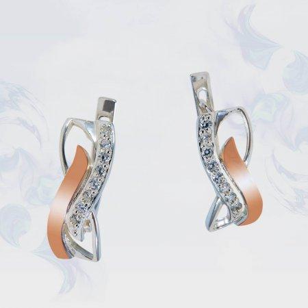 Серьги из серебра с золотыми вставками, модель 156