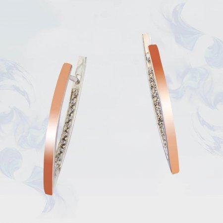 Серьги из серебра с золотыми вставками, модель 158
