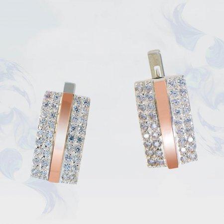 Серьги из серебра с золотыми вставками, модель 165