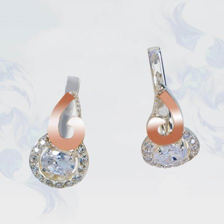 Серьги из серебра с золотыми вставками, модель 169
