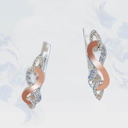 Серьги из серебра с золотыми вставками, модель 170