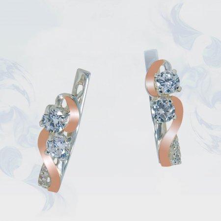 Серьги из серебра с золотыми вставками, модель 179
