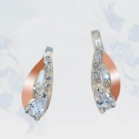 Серьги из серебра с золотыми вставками, модель 181